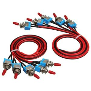 10x Spst Toggle Switch Wires On off Metal Mini Small Automotive boat car truck