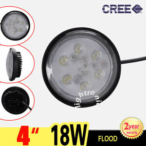 4 Cree 18w 6 Led Work Light Round Flood Headlight Fog Headlamp Lamp Suv Atv 4x4