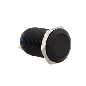 Momentary Black Horn Push Button Temporary Reset Flush Switch Car Boat Circuit
