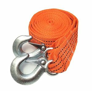 2 5 Ton 2 Inch X 12 Ft Polyester Tow Strap Rope 2 Hooks 6 000lb Heavy Duty