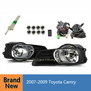 For 07 09 Toyota Camry Clear Fog Lights Bumper Lamps Kit Switch Wiring Fl7011