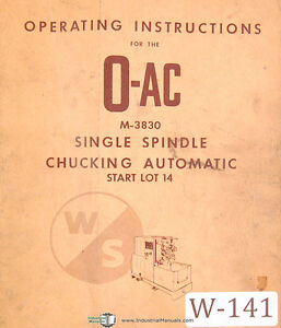 Warner Swasey O ac Single Spindle Chucking Automatic M 3830 Operation Manual