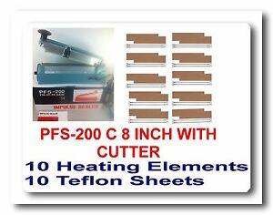 8 Hand Impulse Sealer With Cutter 10 Sealing Elements 10 Ptfi Sheets
