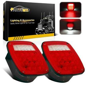 Pair Jeep Style 38led Stop Turn Tail Lights W License Lamp Semi Truck Stud Mount
