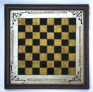 Outstanding Antique 19th C Reverse Painted Game Board