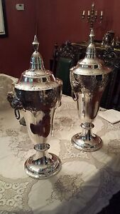 Huge Sterling Silver Pair Of Je Caldwell Covered Urns
