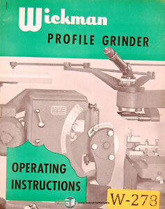 Wickman Profile Grinder Operations Install And Wiring Manual