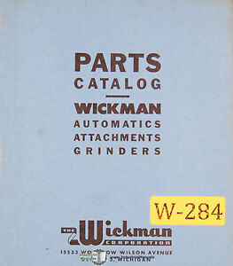 Wickman No 2 Grinding Automatic Attachment Parts Manual