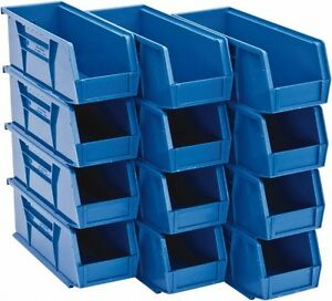 12 Stackable Storage Bins Blue Hang 60 Lb Capacity Each Qus240bl Quantum Systems