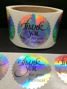 500 Thank You For Your Business 2 Sticker Starburst Holographic Paper Fragile