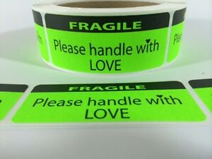 Fragile Handle With Love Labels stickers 100 1 25x3 Ebay Shipping Labels Ebay