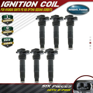 6pcs Ignition Coils For Hyundai Santa Fe Azera Sonata Genesis Sedona Sorento V6