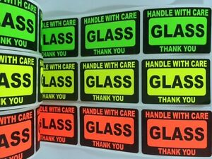 21 2 X 3 Glass Handle With Care Label Sticker Neon Fragile Green Red Yellow New