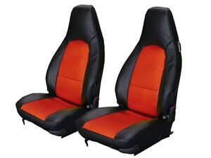 Porsche 911 928 944 968 Black red Leather like Custom Made Front Seat Cover