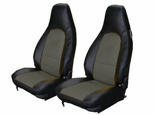 Porsche 911 928 944 968 Black Charcoal Leather Like Custom Made Front Seat Cover