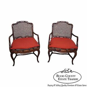 Quality Pair Of Faux Bamboo Caned Wide Seat Open Arm Chairs