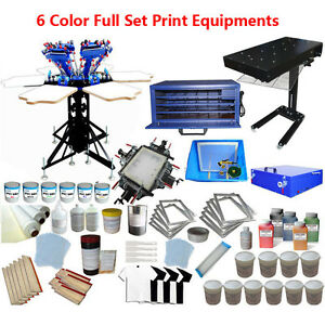6 Color 6 Station Screen Printing Press 18x24 Flash Dryer Materials Kit Starter