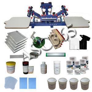 4 Color 2 Station Silk Screen Printing Press starter Material Package New Kit