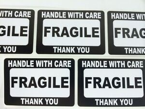 250 2x3 Fragile Black Self Adhesive Handle With Care Stickers Shipping Labels