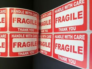 100 2x3 Fragile Stickers Self Adhesive Handle 10 Yellow Thank You Smiley Labels