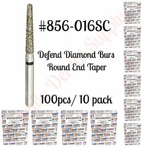 Diamond Burs Round End Taper 856 016sc Super Coarse Black 100pcs 10pk Defend