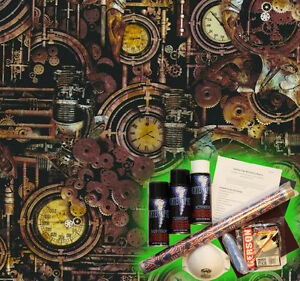 Hydrographics Dip Kit Activator Water Transfer Film Hydro Steam Punk Rust