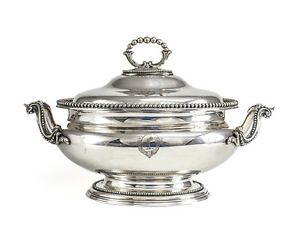 Elkington Co Silverplate Footed Tureen With Hand Engraved Armorials C1850
