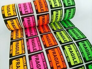 100 2 X 3 Fragile Handle With Care Label Sticker Neon Fluorescent Pink Green New