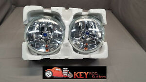 7 Round Headlights Blue Dot Tri Bar True Glass Lens With Turn Signal Chevy Ford