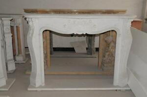 Simplistic French Rococo Marble Fireplace Mantel White Marble 3822