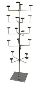 Hat Cap Display Rack 5 Tier Upright 15 Sq Base Fixture Chrome Lot Of 10 New