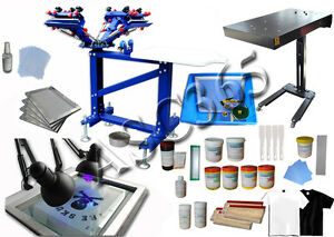 4 Color Silk Screen Printing Press Kit Flash Dryer Top Starter Printer Materials