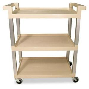 Rubbermaid Commercial Three shelf Service Cart With Brushed Aluminum Uprights