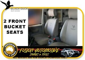 Black Duck Canvas Front Bucket Seat Covers For Ford Falcon Fg 07 08 late 2014 Xl