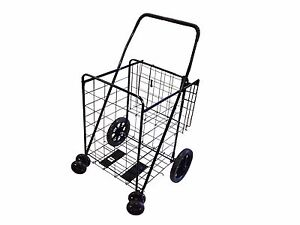 Shopping Cart Jumbo Folding Swivel Wheel Extra Basket Grocery Black