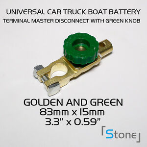 1pc New Car Cut Off Green Switch Side Post Battery Master Disconnect Isolator