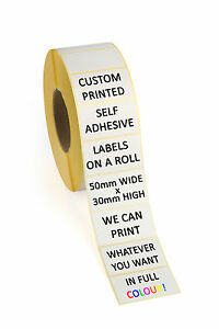 500 Full Colour Self Adhesive Labels Custom Printed 50mm X 30mm