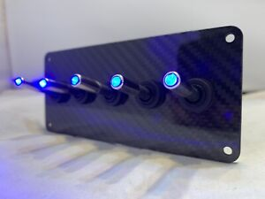 Authentic Carbon Fiber Panel W Led Toggle Switches Blue