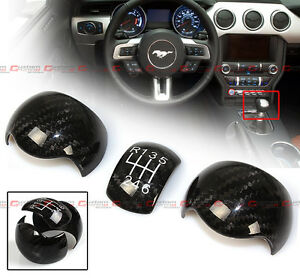 3pc Add On Carbon Fiber Shift Knob Cover For 2015 17 Ford Mustang 6 Speed Manual