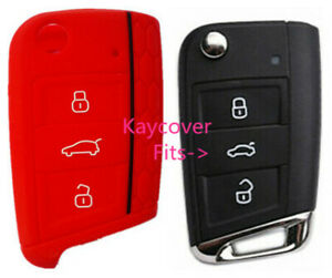 Red Half Silicone Car Flip Key Cover For Vw Volkswagen Mk7 Golf