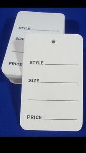1000 Lot Large White Unstrung Garment Merchandise Price Tags 1 3 4 X 2 7 8 Store