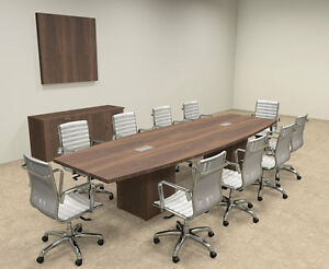 Modern Boat Shaped Cube Leg 12 Feet Conference Table of con cq23