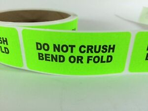 250 1x3 Do Not Crush Bend Labels Stickers Neon Green Fluorescent Fragile New