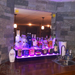 36 Led Bottle Bar Rack Shelf Two Steps Color Changing Lights Glass Display