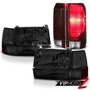 92 96 Ford F250 Smokey Headlights Smoked Red Taillamps Factory Style Assembly