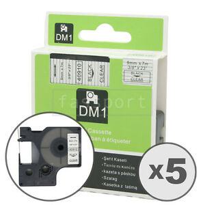 5pk Black On Clear Tape Label Compatible For Dymo 40910 D1 9mm 3 8