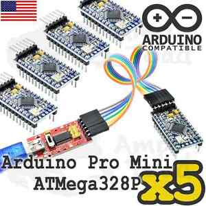 5 X Arduino Mini Mega328p With Ft232 Ttl Programmer With Cables Mini Funduino