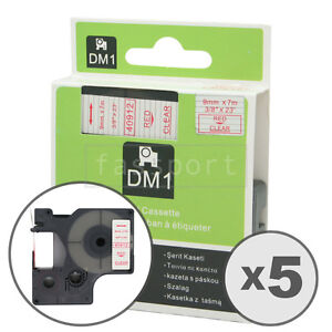 5pk Red On Clear Tape Label Compatible For Dymo 40912 D1 9mm 3 8