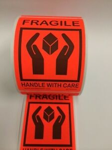250 Fragile Labels Stickers 4 250 X 3 125 red Neon Fluorescent Color 250 New