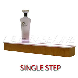 24 1 Tier Led Lighted Liquor Display Shelf Maple Finish